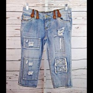 Mudd cropped jeans with suspenders Juniors size 3